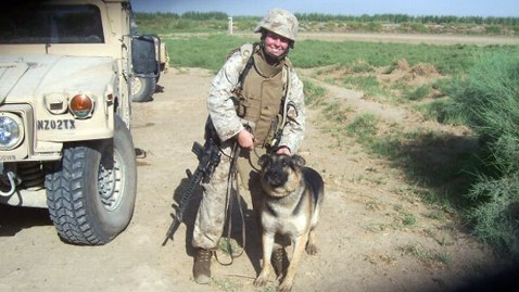 Corporal ML survived a roadside bomb with her military service dog Sgt. Rex.  Megan adopted Rex after a long separation