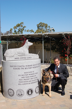 On  April 16, 2011, US Military War Dogs were honored with a ceremony and life-sized granite sculpture at the Rancho Coastal Humane Society in Encinitas, California.  Jim Silveira, president of the shelter, came up with the idea not only to honor our canine heroes but also to promote their adoption after retirement.  The sculpture sits on top of a granite  block inside the shelter's dog park.  It is a replica of US Army soldier Chyba a German Shepard who served as a patrol and security canine in Kuwait and Germany.  Chyba has since retired, been adopted and  enjoys her civilian life